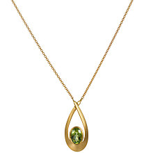 Buy EWA 9ct Yellow Gold Satin Finished Peridot Pendant Necklace Online at johnlewis.com