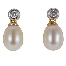 Buy EWA 9ct Yellow Gold Diamond/Cultured Fresh Water Pearl Drop Earrings Online at johnlewis.com