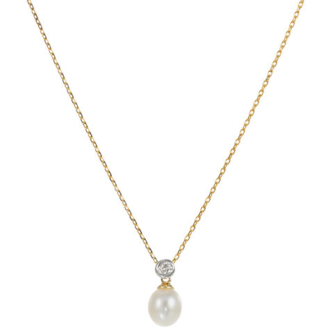Buy EWA 9ct Yellow Gold Diamond/Cultured White Freshwater Pearl Pendant Necklace Online at johnlewis.com