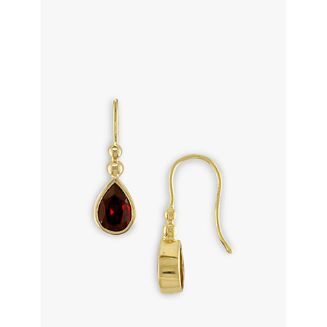Buy 9ct Yellow Gold Garnet Bead Drop Earrings Online at johnlewis.com