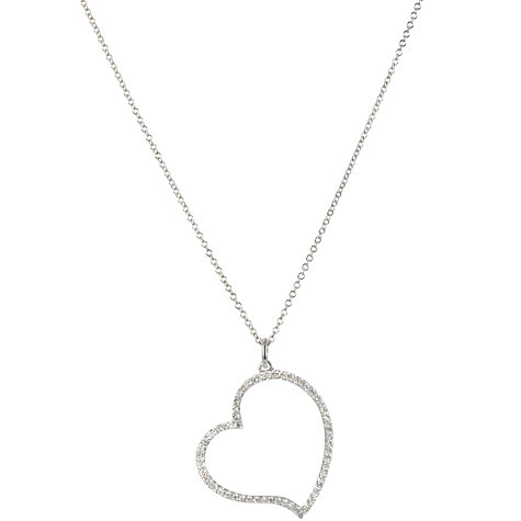 Buy EWA 18ct White Gold Diamond Heart Pendant Necklace Online at johnlewis.com