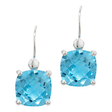 Buy London Road 9ct White Gold Cushion Blue Topaz Drop Earrings Online at johnlewis.com