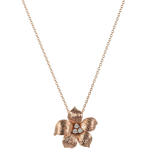 Buy London Road 9ct Rose Gold Diamond Lily Pendant Necklace Online at johnlewis.com