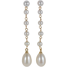 Buy London Road 9ct Yellow Gold White Cultured Fresh Water Pearl Earrings Online at johnlewis.com