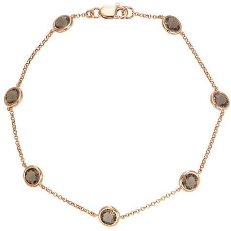 Buy London Road 9ct Rose Gold Raindrop Smokey Quartz Bracelet Online at johnlewis.com
