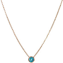 Buy London Road 9ct Rose Gold Rain Drop Blue Topaz Pendant Necklace Online at johnlewis.com