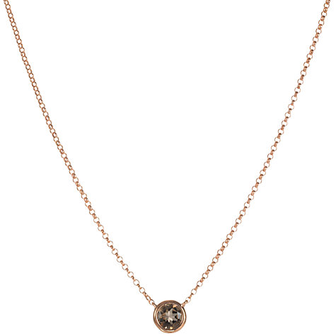Buy London Road 9ct Rose Gold Rain Drop Smokey Quartz Pendant Necklace Online at johnlewis.com