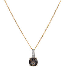Buy 9ct Yellow Gold Smoky Quartz and Diamond Pendant Necklace Online at johnlewis.com