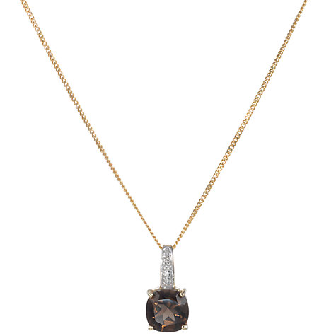 Buy A B Davis 9ct Yellow Gold Smoky Quartz and Diamond Pendant Necklace Online at johnlewis.com