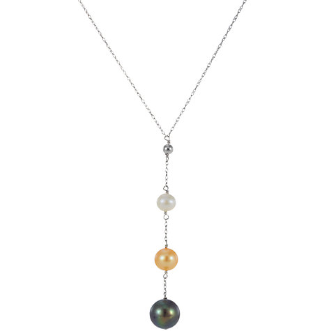 Buy A B Davis 9ct White Gold and Multi Coloured Freshwater Pearl Drop Pendant Necklace Online at johnlewis.com