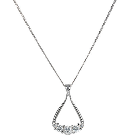 "Buy A B Davis 9ct White Gold ""Horseshoe"" Cubic Zirconia Pendant Necklace Online at johnlewis.com"