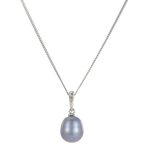 Buy A B Davis 9ct White Gold Freshwater Pearl and Diamond Pendant Necklace Online at johnlewis.com