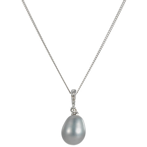 Buy A B Davis 9ct White Gold Grey Freshwater Pearl and Diamond Pendant Necklace Online at johnlewis.com