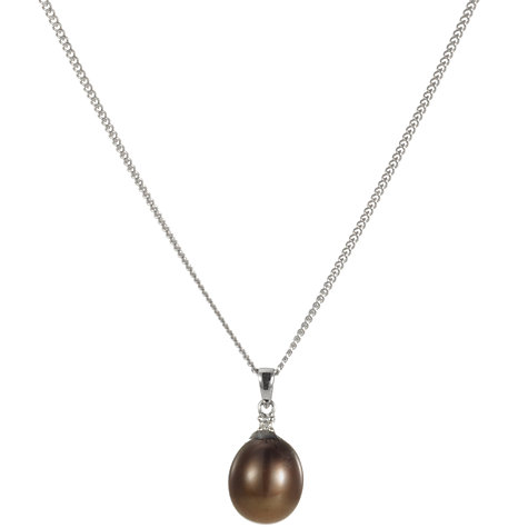 Buy A B Davis 9ct White Gold Chocolate Freshwater Pearl and Diamond Pendant Necklace Online at johnlewis.com