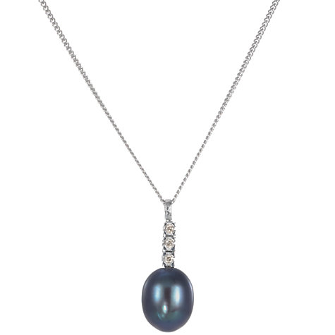 Buy A B Davis 9ct White Gold Diamond and Black Freshwater Pearl Pendant Necklace Online at johnlewis.com