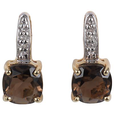 A B Davis 9ct Yellow Gold Cushion Cut Stud Earrings, Smoky Quartz