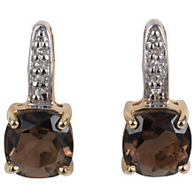 Buy A B Davis 9ct Yellow Gold Cushion Cut Stud Earrings, Smoky Quartz Online at johnlewis.com