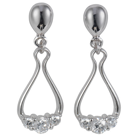 "Buy A B Davis 9ct White Gold ""Horseshoe"" Cubic Zirconia Drop Earrings Online at johnlewis.com"