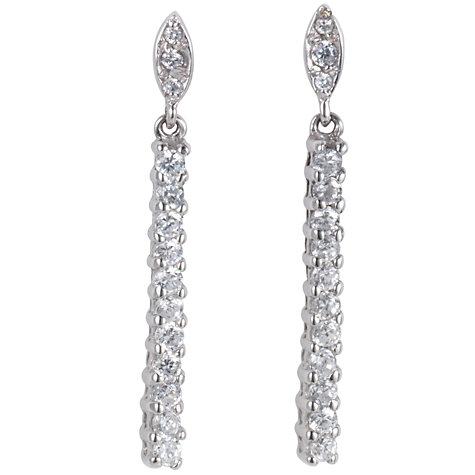 Buy A B Davis 9ct White Gold Cubic Zirconia Bar Drop Earrings Online at johnlewis.com