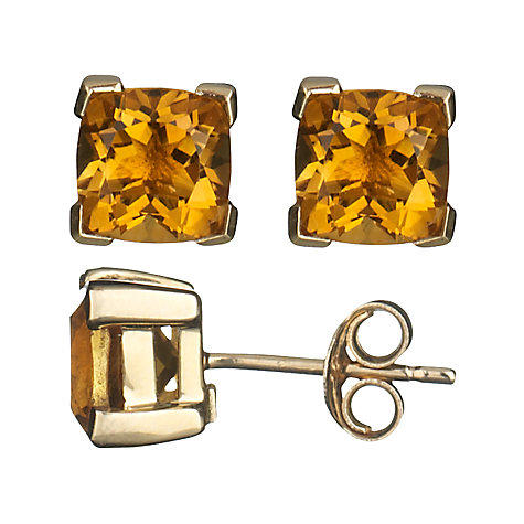 Buy A B Davis 9ct Yellow Gold Cushion Cut Stud Earrings Online at johnlewis.com