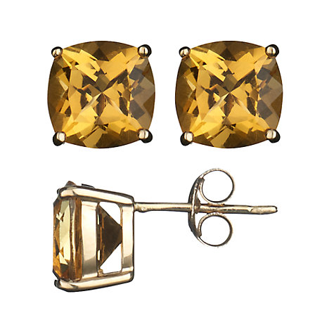 Buy 9ct Yellow Gold Cushion Cut Citrine Stud Earrings Online at johnlewis.com