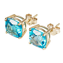 Buy A B Davis 9ct Yellow Gold Cushion Cut Blue Topaz Stud Earrings Online at johnlewis.com