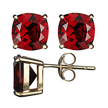 Buy A B Davis 9ct Yellow Gold Cushion Cut Garnet Stud Earrings Online at johnlewis.com