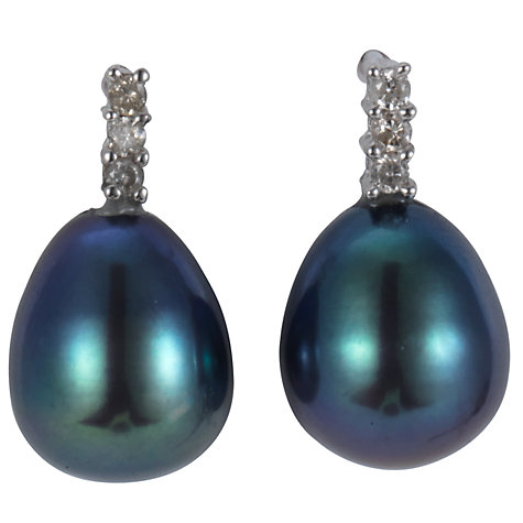 Buy A B Davis 9ct White Gold Diamond Set Black Freshwater Pearl Drop Earrings Online at johnlewis.com