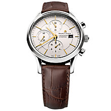Buy Maurice Lacroix LC6058-SS001-131 Les Classique Crocodile Leather Chronograph Watch, Silver Online at johnlewis.com