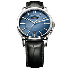 Buy Maurice Lacroix PT6158-SS001-43E Men's Pontos Blue Dial Leather Strap Watch Online at johnlewis.com