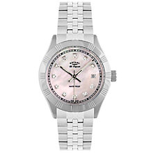 Buy Rotary LB90100/07 Women's Round Mother of Pearl Dial Bracelet Strap Watch Online at johnlewis.com