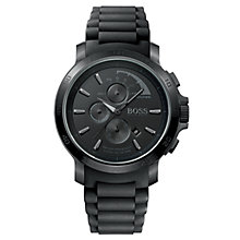 Buy BOSS 1512393 Men's Round Black Dial Black Rubber Bracelet Chronograph Watch Online at johnlewis.com