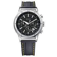 Buy Hugo Boss 1512500 Men's Round Black Dial Black Rubber Strap Chronograph Watch Online at johnlewis.com