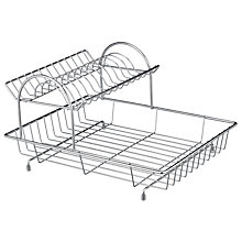 Buy John Lewis 2-Tier Dish Drainer, Stainless Steel Online at johnlewis.com