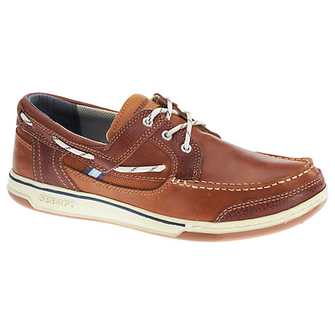 Buy Sebago Triton 3-Eyelet Leather Boat Shoes, British Tan/Brown Online at johnlewis.com
