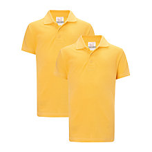 Buy John Lewis School Polo Shirts, Pack of 2, Gold Online at johnlewis.com