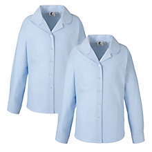 Buy Girls' School Long Sleeve Blouse, Pack of 2, Blue Online at johnlewis.com