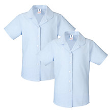 Buy Girls' School Short Sleeve Blouses, Pack Of 2, Blue Online at johnlewis.com