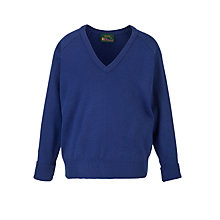 Buy Plain Unisex School V-Neck Acrylic Jumper, Royal Blue Online at johnlewis.com