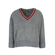 Buy Boys' School Pullover, Grey/Red Online at johnlewis.com