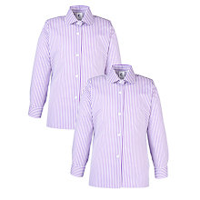 Buy Glendower Preparatory School Girls' Long Sleeve Blouse, Pack of 2, Purple/White Online at johnlewis.com