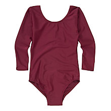 Buy Girls' School Long Sleeve Leotard, Maroon Online at johnlewis.com