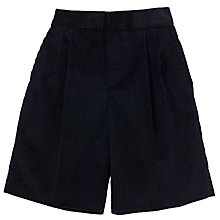 Buy Boys' School Pleated Cord Bermuda Shorts, Navy Online at johnlewis.com