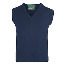 Buy Plain Boys' School V-Neck Slipover, Navy Online at johnlewis.com