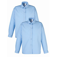 Buy School Girls' Long Sleeve Blouse, Pack of 2, Blue Online at johnlewis.com