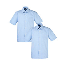 Buy Boys' School Check Print Short Sleeve Shirt, Pack of 2, Blue/White Online at johnlewis.com