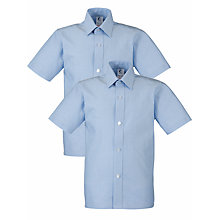 Buy Boys' School Short Sleeve Shirt, Pack Of 2, Light Blue Online at johnlewis.com