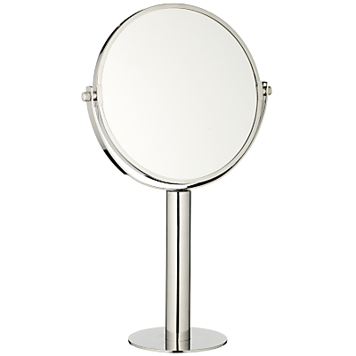 John Lewis Curve Stainless Steel Polished Magnifying Pedestal Mirror, Silver