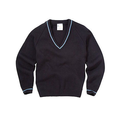 Buy Unisex School V-Neck Jumper, Navy Online at johnlewis.com