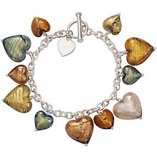 Buy Martick Autumn Sterling Silver Murano Glass Heart Bracelet Online at johnlewis.com